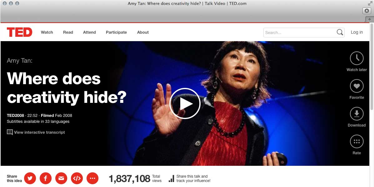 TED Talk – Amy Tan – Where does creativity hide?