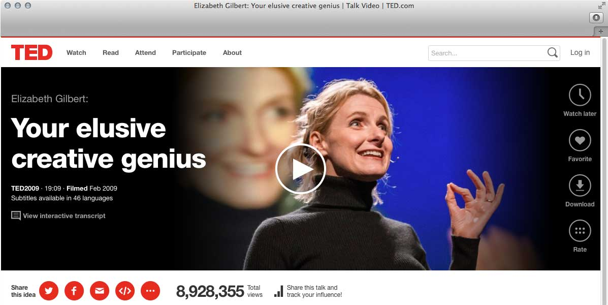 TED Talk – Elizabeth Gilbert – Your elusive creative genius