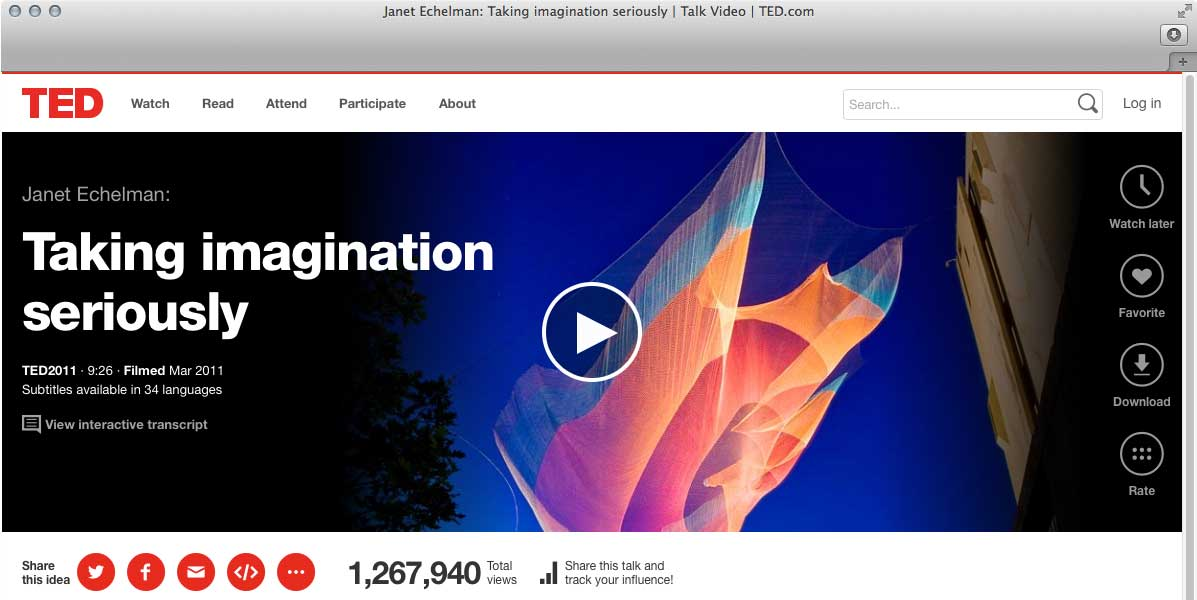 TED Talk – Janet Echelman – Taking imagination seriously